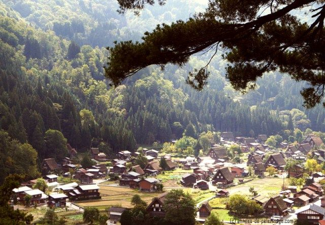 A view from above on the village of Shirakawa-go in Japan