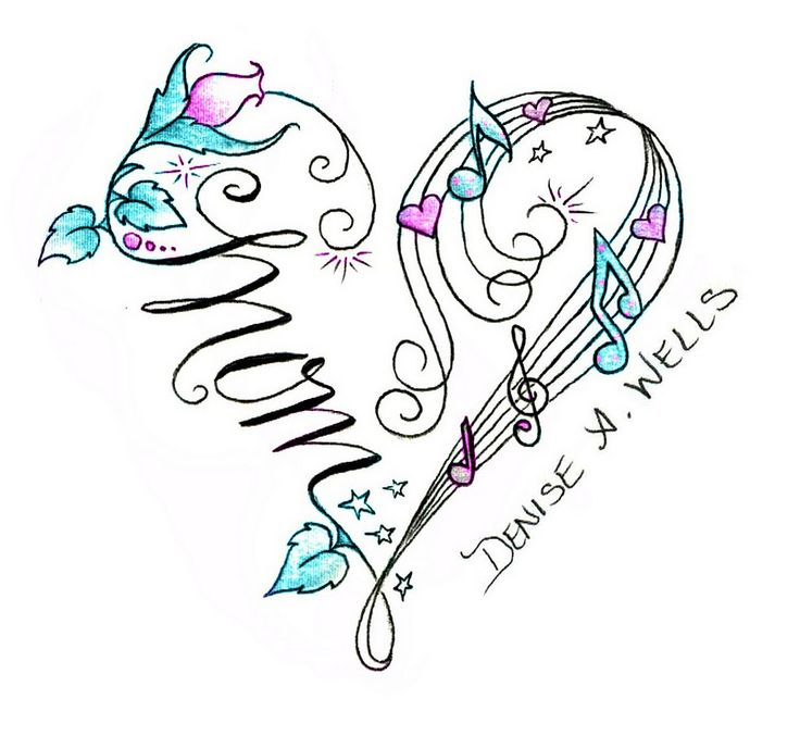 Mom Heart tattoo design by Denise A. Wells made with musical notes, flower, leaves and musical score...