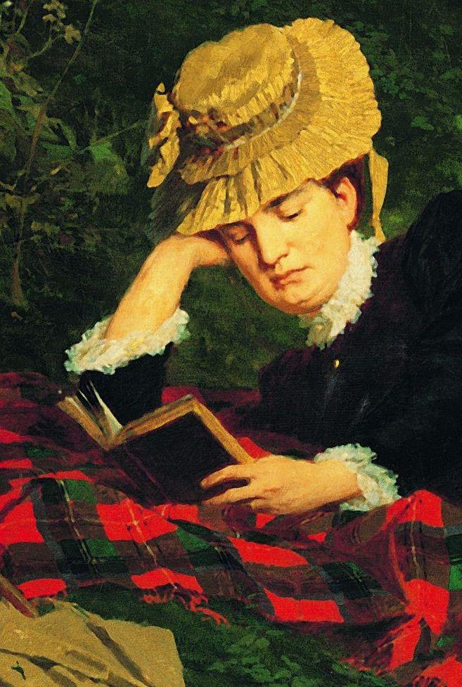 Benczúr Gyula: Olvasó nő az erdőben, részlet, 1875, olaj, vászon, 87,5 x 116,5 cm