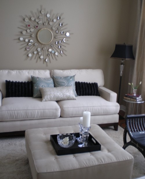 Living room white silver black taupe blue grey home for Black white and blue living room ideas