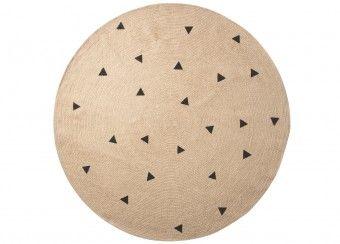 groot jute tapijt 'black triangles' Ferm Living   kinderen-shop Kleine Zebra