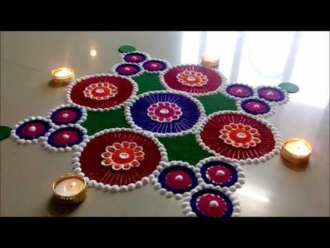 Easy and Creative Festival Rangoli Designs Diwali Special Rangoli by Shital Mahajan. - YouTube