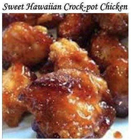 sweet hawaiian crock-pot chicken: 1kg Chicken * 1 cup pineapple juice * 1/2 cup brown sugar * 1/3 cup soy sauce. Cook on low in crock-pot 6-8 hours. Serve with brown rice.
