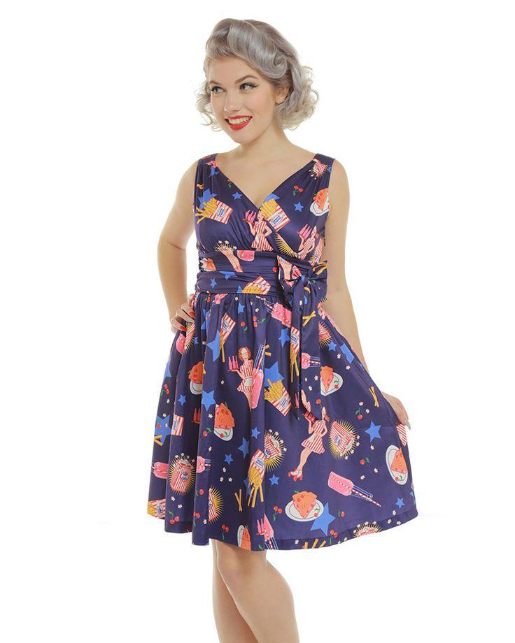 'Harper' Purple Pop Diner Print Swing Dress - Dresses