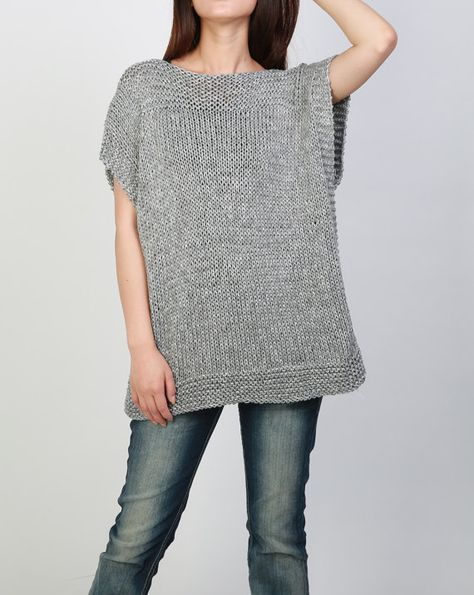Hand knit Tunic sweater grey eco cotton woman sweater by MaxMelody