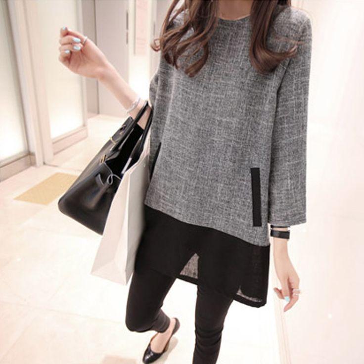 Fashion Women Spring Autumn Tunic Dress Casual Flax Patchwork 3/4 Sleeve O Neck Mini T-shirt Dresses Vestidos XL-5XL