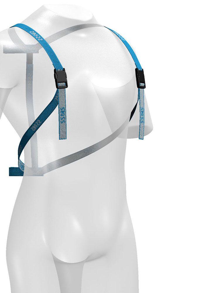 Le porte-skis dorsal qui allège vos vacances. SKISS, le porte-skis dorsal simplement évident.Porter ses skis devient un jeu d'enfant.