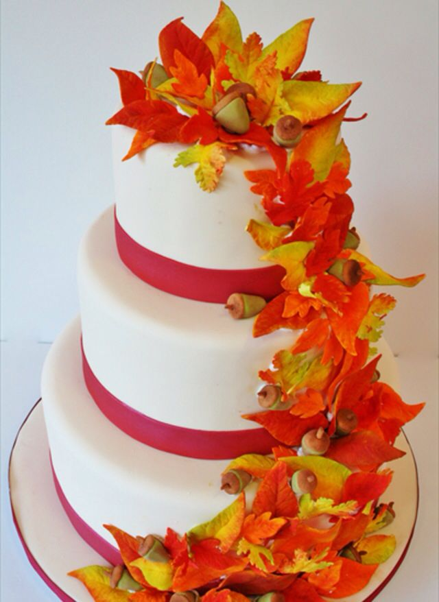 Wedding Cakes New Jersey Fall Leaves Custom Cakes 81