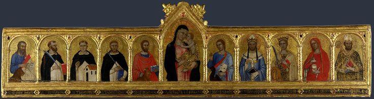 Andrea di Bonaiuto. The Virgin and Child with Ten Saints. 1360-70. London NG. - Андреа Бонайути — Википедия. Богоматерь с младенцем и десятью святыми. 1360-1370. Национальная галерея, Лондон.