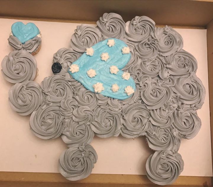 Cute elephant cupcake cake