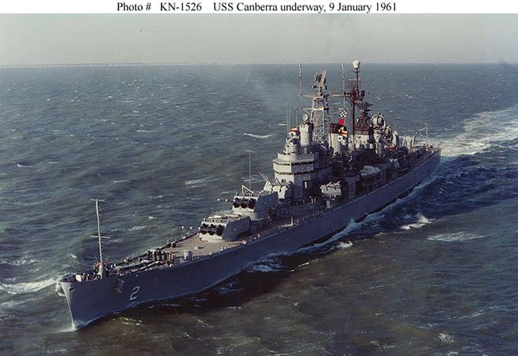 USS Canberra (CA 2) Heavy Cruiser  later converted to a heavy guided missile cruiser.: Military Ships, Naval Ships, Navy Ships, Canberra Ca70, Ships Boats, Cruiser Uss, Battleship, Missil Cruiser, Heavy Cruiser