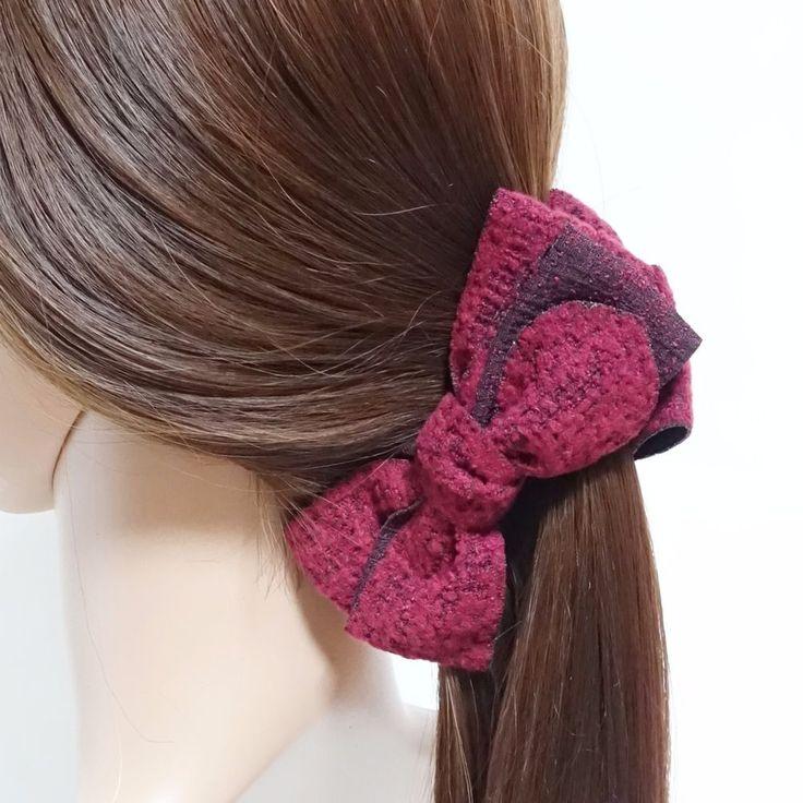 Handmade Multi Bow Fall/Winter Fabric Banana Hair Clip  #VeryShine #Clips #hairclip #handmade #bananaclip