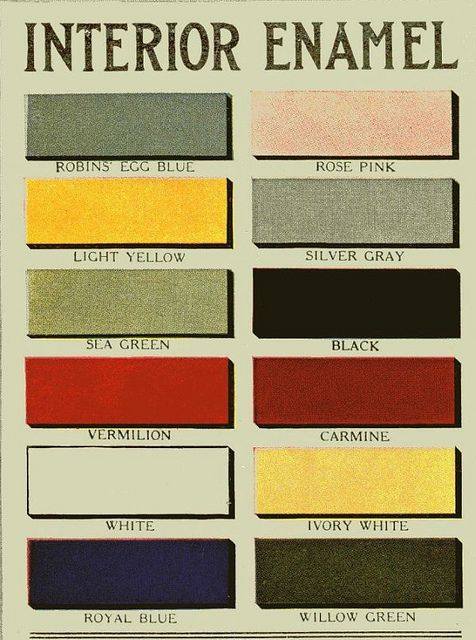 Original Interior Enamel Paint Colors, 1910-1920. They still look good today for vintage inspired rooms.