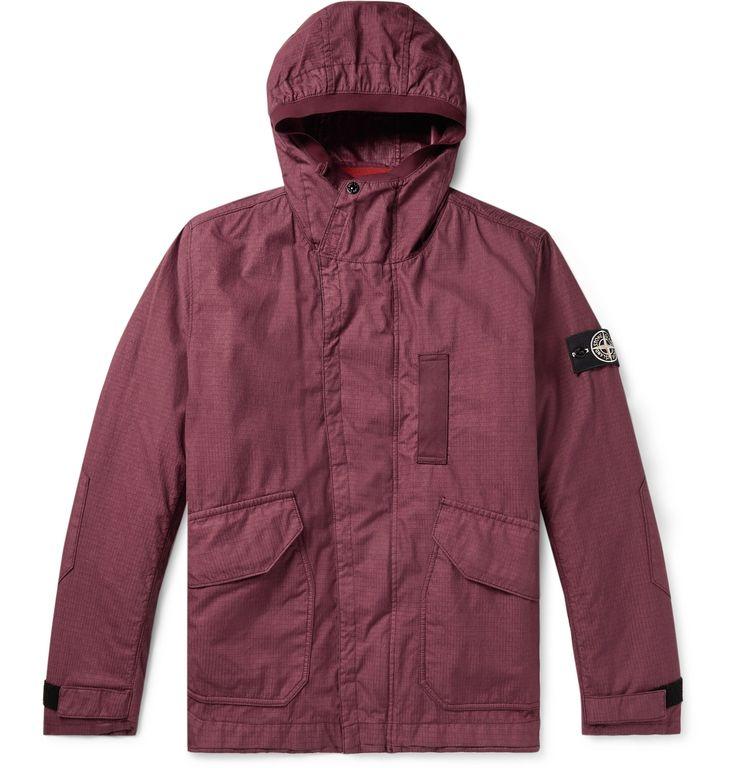 Stone Island – Logo-Appliquéd Garment-Dyed Cotton-Blend Ripstop-TC Hooded Jacket – Men – Burgundy   – Products