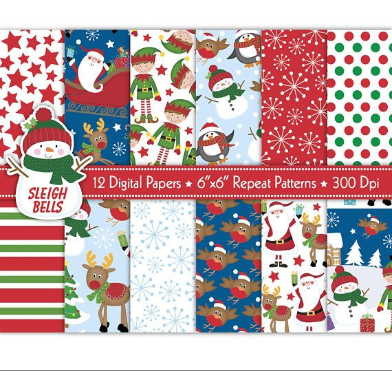 Christmas Digital PapersChristmas PapersSanta