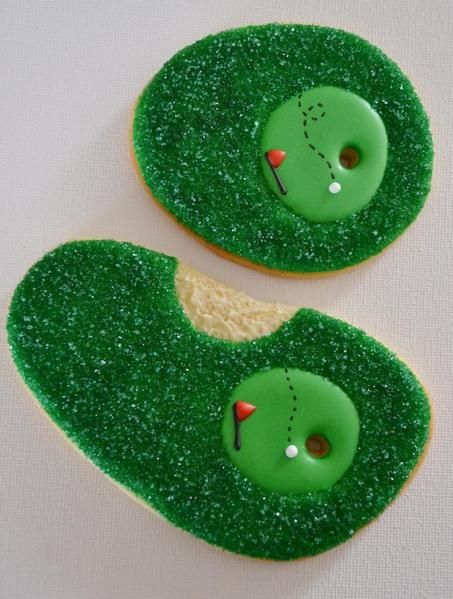 Glitter frosting!  Cute golf cookies :)