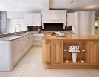 ex display inframe grey steel and oak kitchen island worktops and tv ref - Ex Display Designer Kitchens For Sale