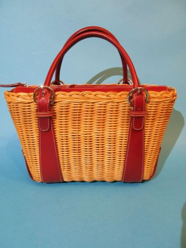 ANN TAYLOR ~ WICKER RATTAN BASKET TOTE HANDBAG WITH RED ITALIAN LEATHER TRIM