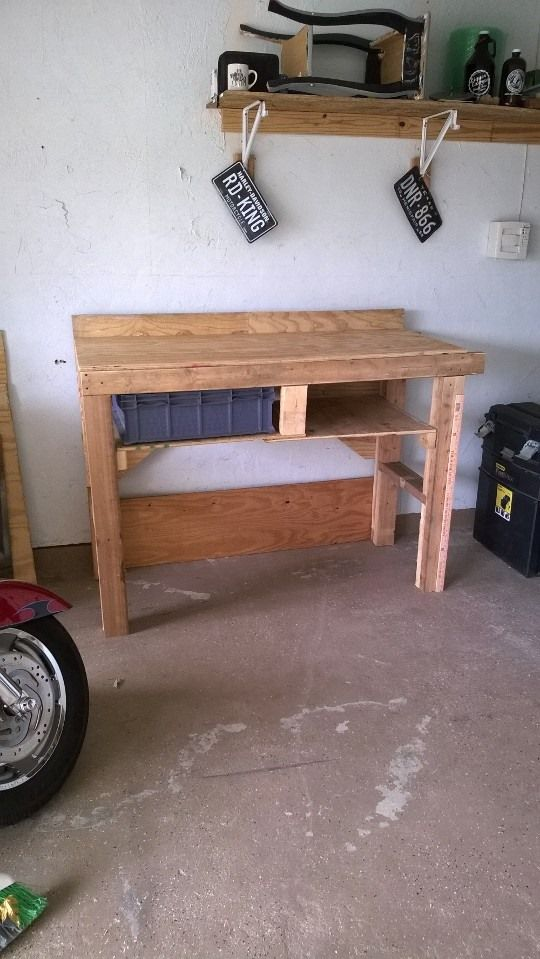 """Reclaimed wood. This is a very strong workbench that can be modified to fit many uses. Made this one 43"""" tall to save my back."""