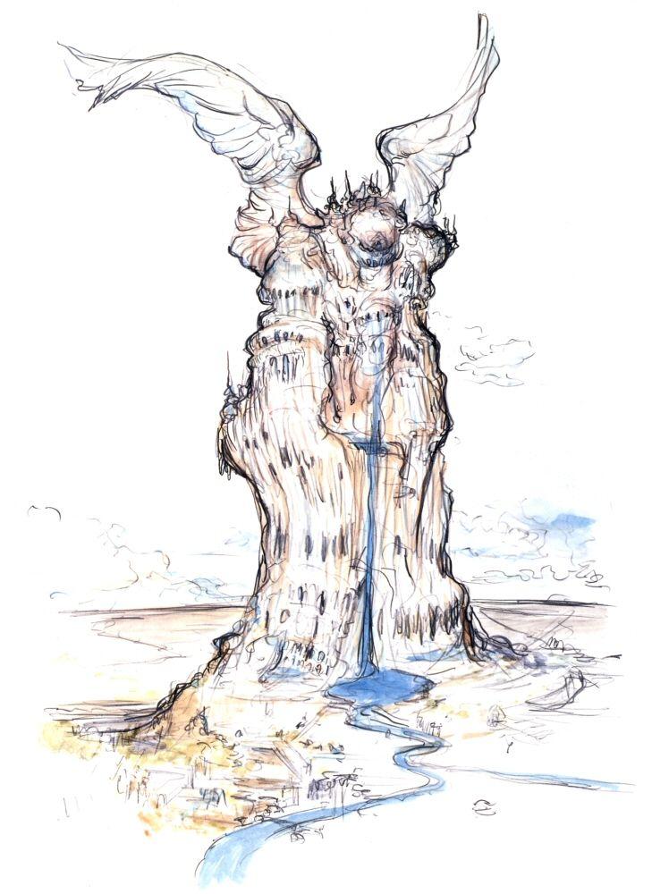 Final Fantasy IX - Alexander Concept Art - Yoshitaka Amano