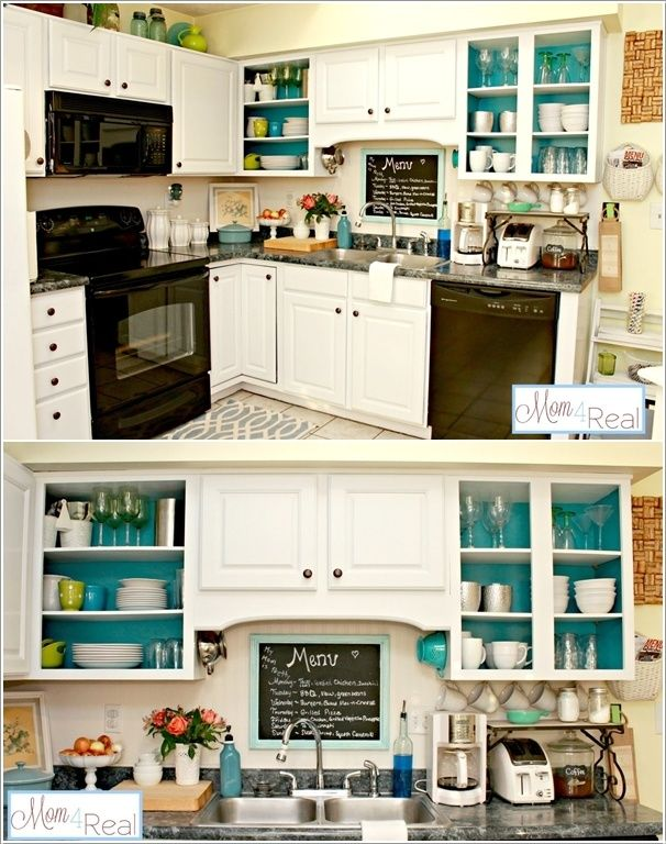 Painting the INSIDE of the cabinets is actually a really good idea... as long as your dishes don't look like shit. Just sayin'... #boozymom