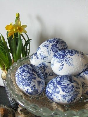 spring...decoupaged egg shells