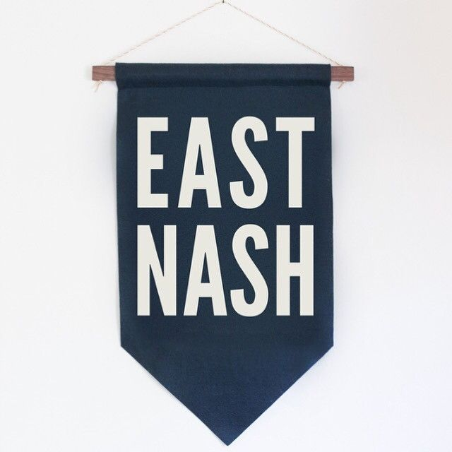 These banners are locally made from 100% recycled plastic and wool felt here in Nashville, TN. Each letter is hand-cut and hand-sewn and finished with a hand-cut and finished walnut dowel bar. Colors: