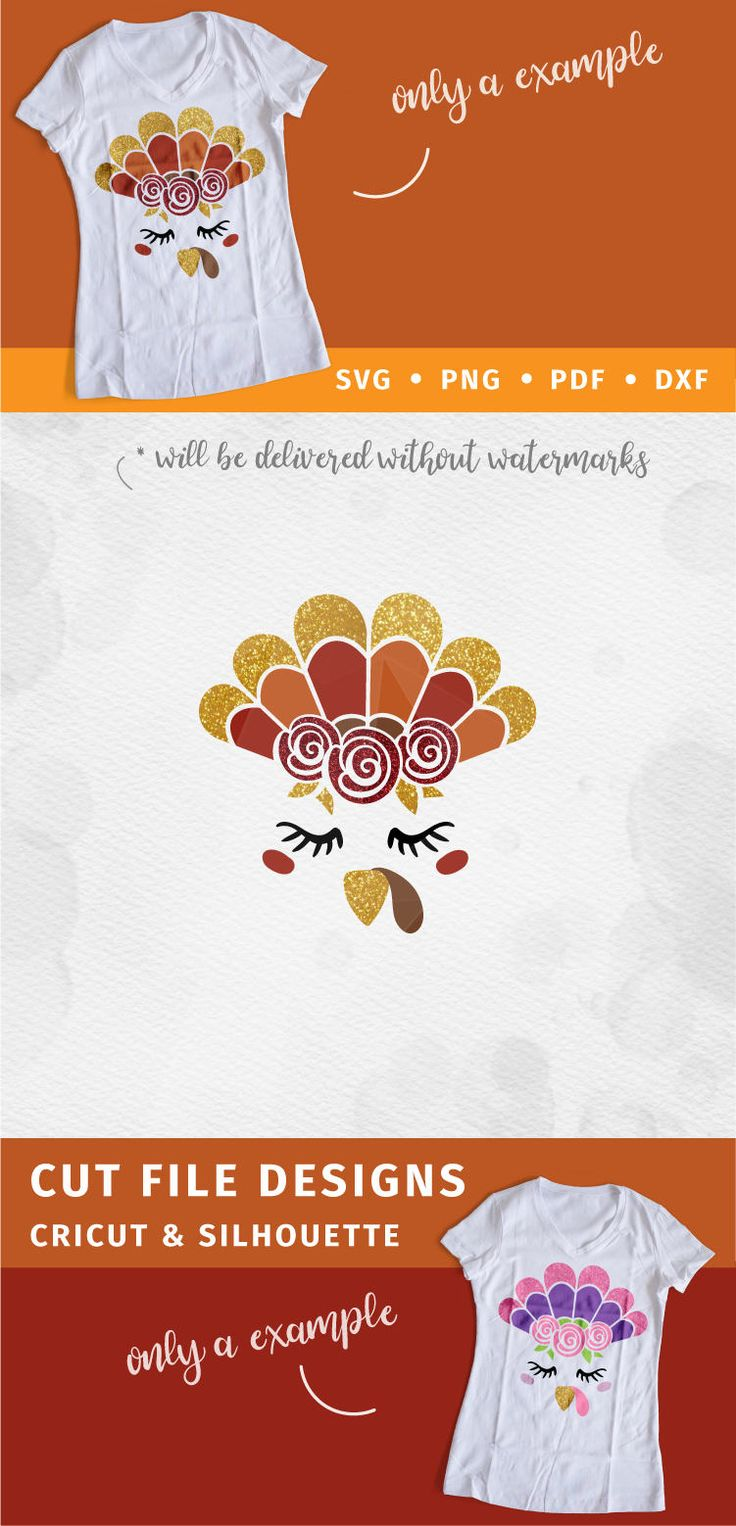 Cute Turkey face SVG with roses. A cut file from Modilly's.