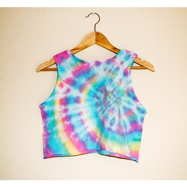 Tie Dye Rainbow Crop Top Tank Top Cropped Festival T Shirt Sleeveless... ($20) ❤ liked on Polyvore