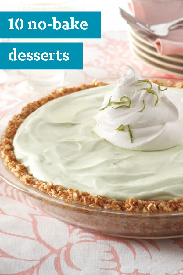 10 No-Bake Desserts – When it comes to summer treats, no-bake desserts are an obvious choice—and not just because you don't have to crank up the oven. In this weather, cool and creamy wins the day. Find no-bake desserts like ice cream and ice cream cakes to fruity no-bake cheesecakes and cookie balls!