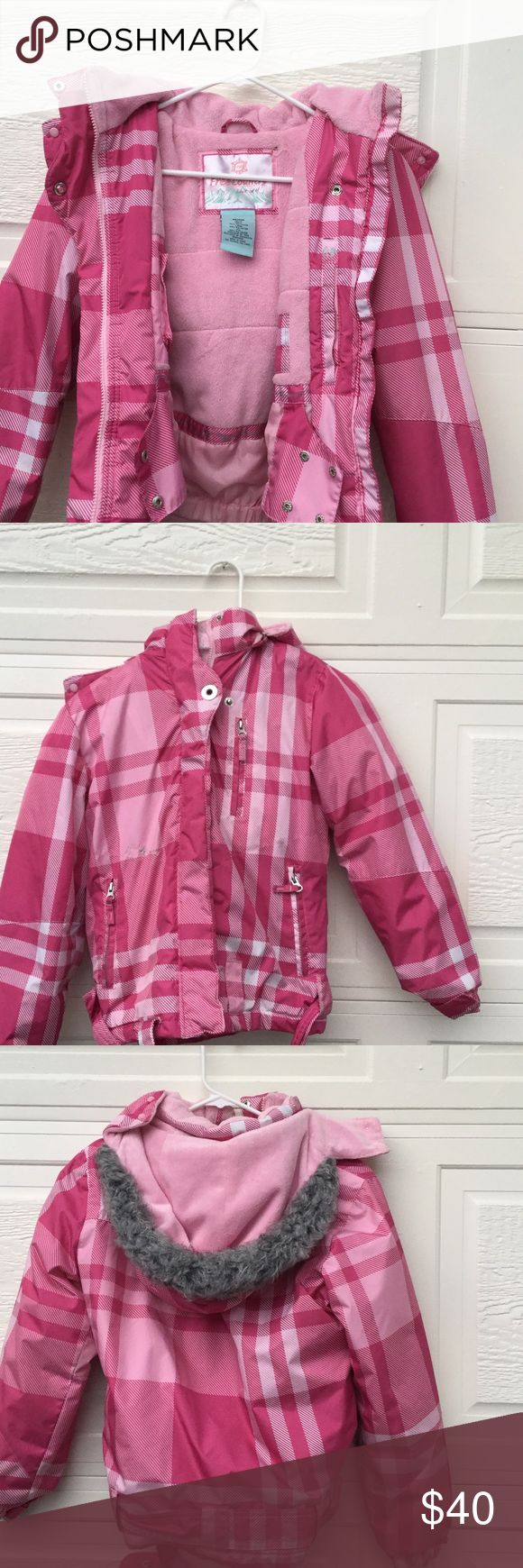 Pink Girl Snow Jacket Pink Plaid snow jacket with fuzzy interior. Very good quality jacket with a removable hood. Fur on hood a little worn down, but still very cute. Belt on jacket to ensure it stays on. Great jacket for any little girl. Free Country Jackets & Coats