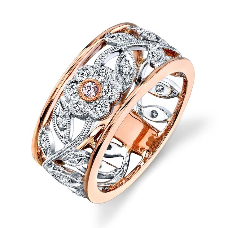 Right-Hand White & Rose Gold Diamond Ring- MR1000-RW - Simon G.