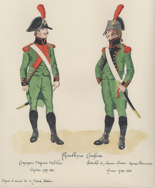 Republique Cisalpine;  Cie ouvrieur ,1797-1801 Bataillion de Sapeurs/Mineurs, 1799-1800.