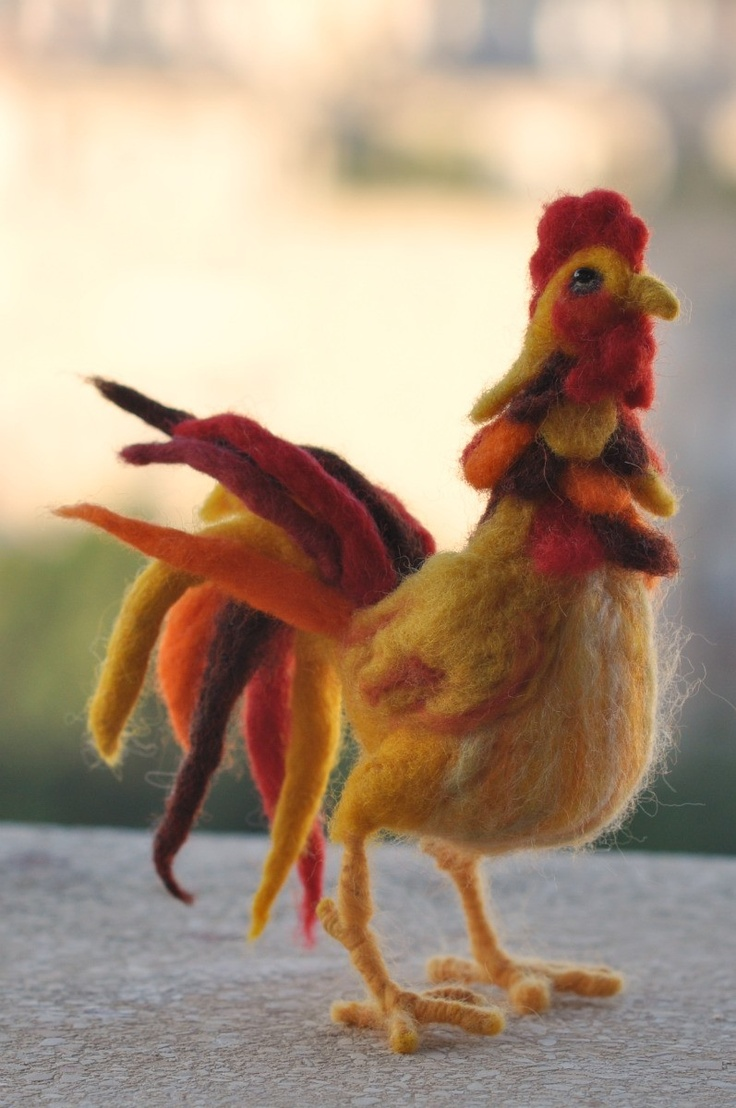 Needle-felted rooster