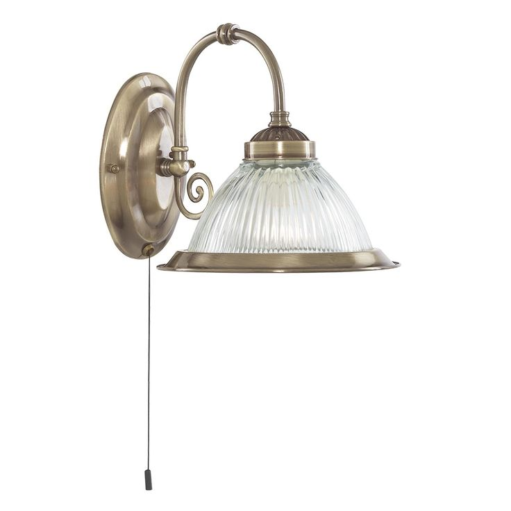 1 Light Switched Wall Bracket Antique Brass Diner Clear Glass 18cm
