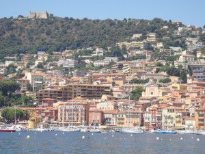 View of Villefranche-Sur-Mer, France from the beach