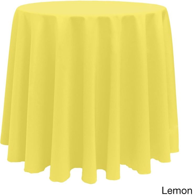 Christmas Solid Round Bright Color Durable Lemon Tablecloth Decor 90 Inches