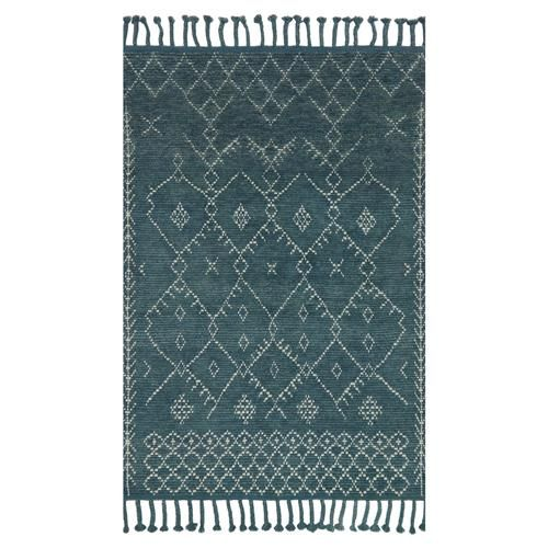 Bazaar Hand Knotted Moroccan Blue Wool Area Rug - Teal Blue - Bohemian Boho design rug - Transitional decor throw rug