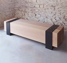 steel and oak bench
