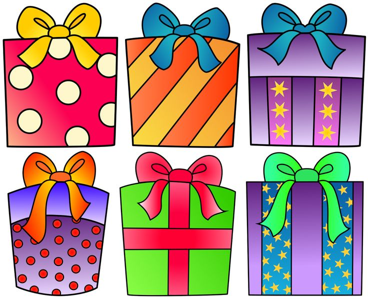 Birthday present clipart for your project or classroom. Free PNG files that will size to A3. Classroom Clipart.