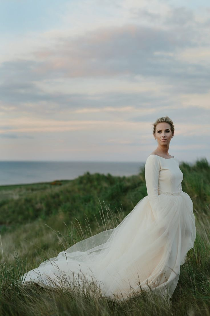 Elegant Bride in Elizabeth Stuart Rosemary Wedding Dress - Kinkell Byre Rustic Barn Wedding in Scotland | Fairy Lights | ASOS Bridesmaid Dresses | Rooftop Mosaic Photography