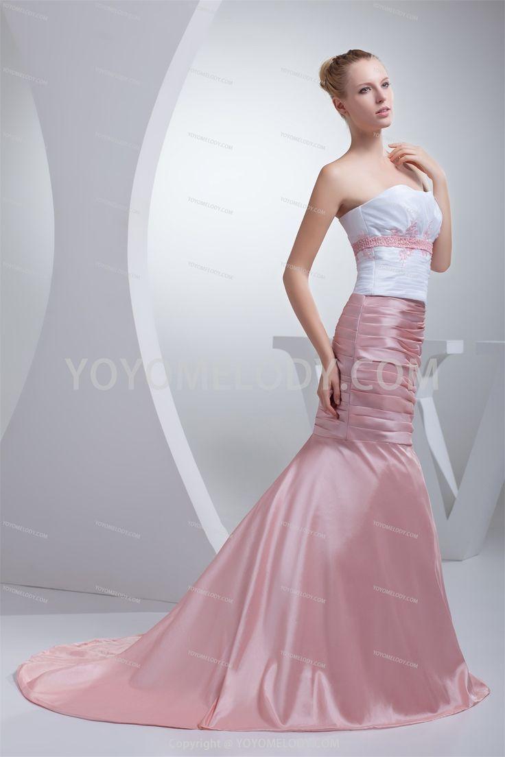 Elegant&Luxurious White/Pink Taffeta Sweep Brush Train Sheath/Column Evening Dress SD0601584
