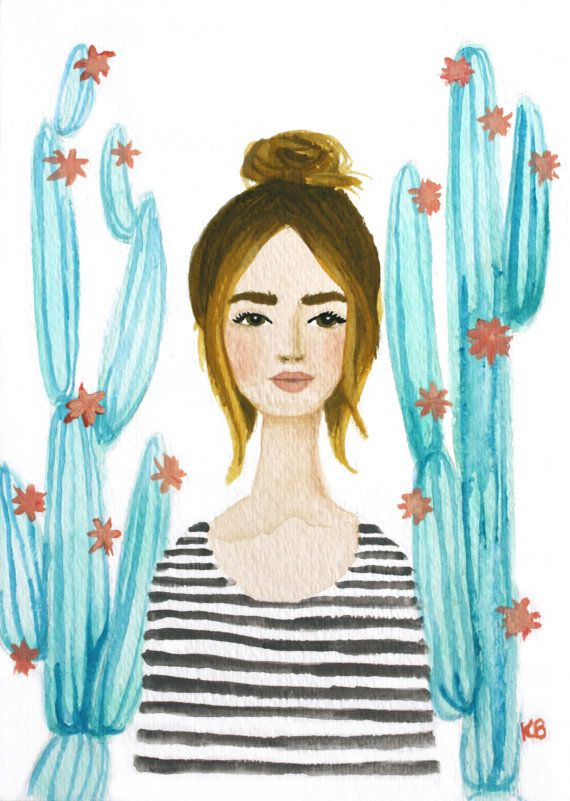 Print of Cactus girl original watercolor and por KristineBrookshire