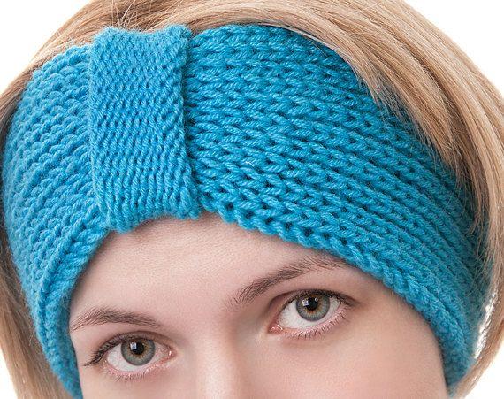 Winter Blue Knitted Headband Ear Warmer Head by LittleKnittedThing