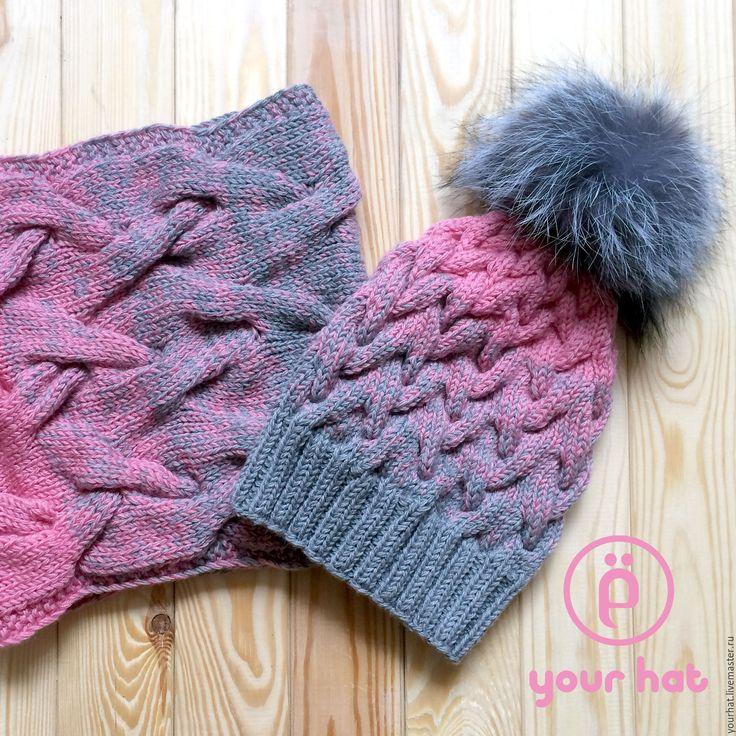 Купить Вязаная шапка 100% шерсть мериноса, шапка с помпоном - розовый, шапка, шапка вязаная