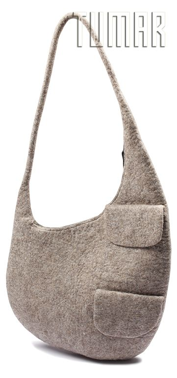 Bag. Felt - 100% wool. Handmade, solid-rolled. Technique - resist felting.  Color: tea mélange. Catalogue: Going Wild, 2016. Tumar Art Group.