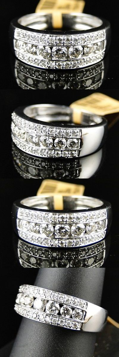 Rings 137856: 14K New Mens White Gold Round Cut Diamond Ring Wedding Band 1.2 Ct 7.5 Mm BUY IT NOW ONLY: $999.99