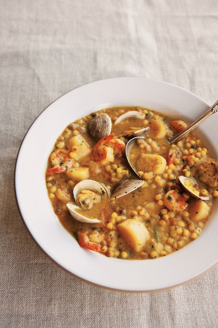 Saffron Fregola with Seafood ~ A bit of culinary exotica, fregola is a type of pasta from the Italian island of Sardinia.