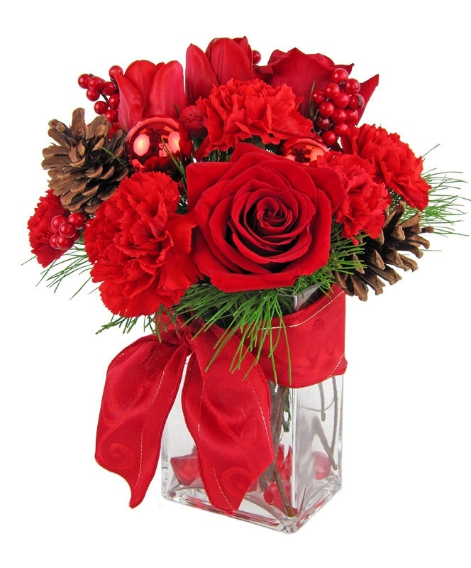 This bouquet is a lovely combination of reds featuring