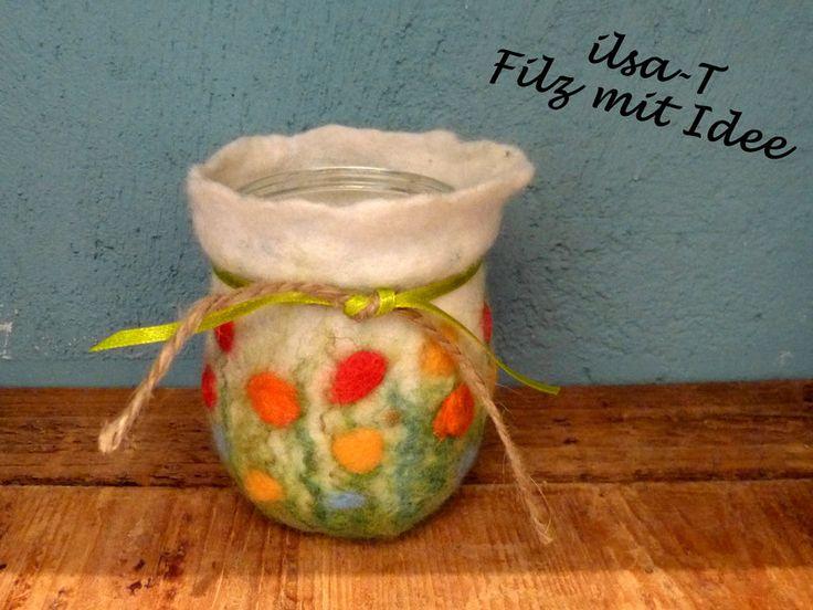 Kleines Blumen Windlicht, gefilzt von ilsa-T - Filz mit Idee auf DaWanda.com